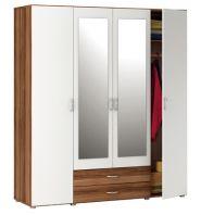 Čtyřdvéřová šatní skříň - 5163 ořech/bílá