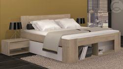 Dvoulůžko s nočními stolky a zásuvkami - Milo 160